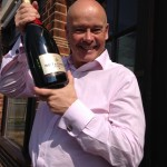 Tim showing off his champagne